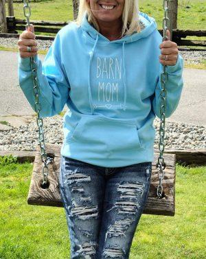 Barn Mom Aqua Pullover Hoodie