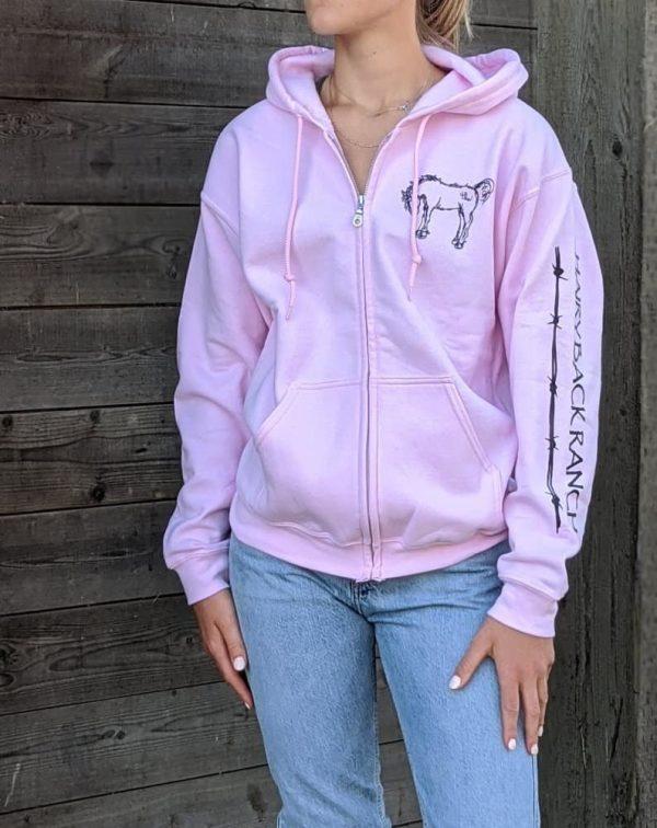 Zip Up Hoodie - Light Pink