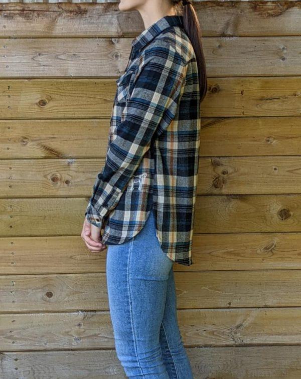 Ladies Plaid Flannel - Khaki/Cream