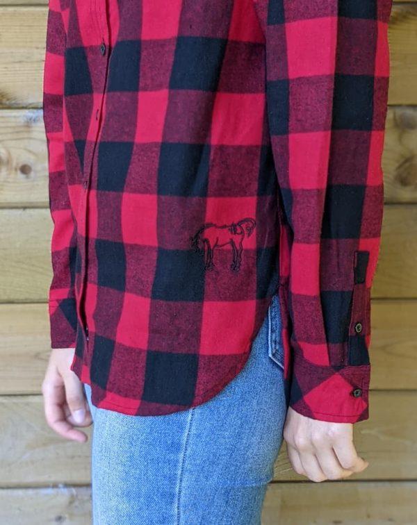Ladies Plaid Flannel - Red/Black