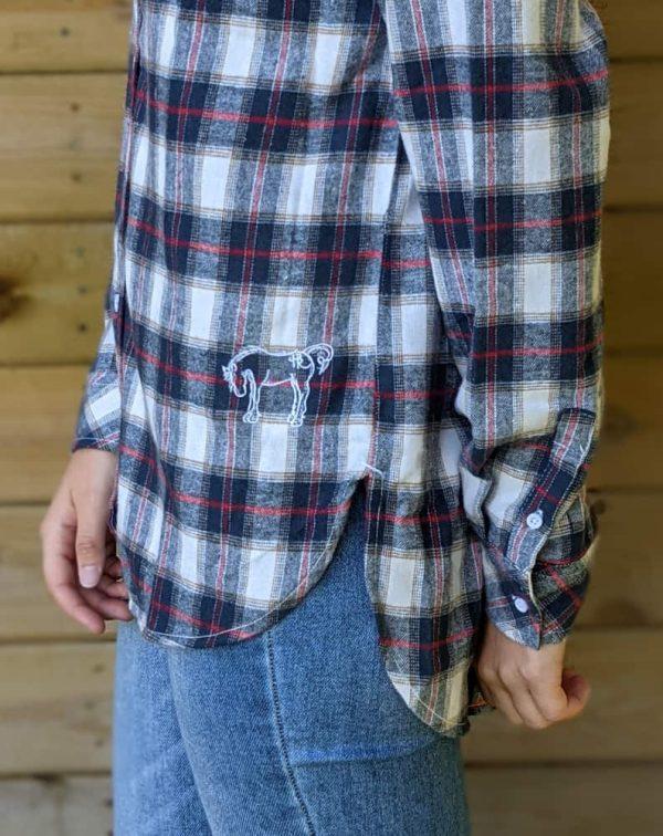 Ladies Plaid Flannel - White/Navy
